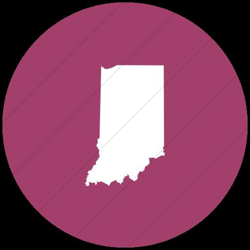 Flat Circle White On Pink Us States Indiana Icon