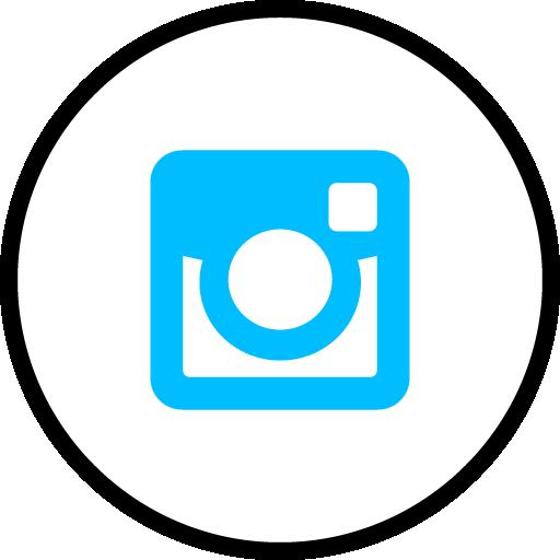 Instagram Free Social Media Blue Round Outline Icon Design