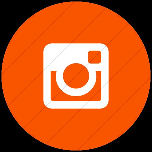 Flat Circle White On Orange Bootstrap Font Awesome
