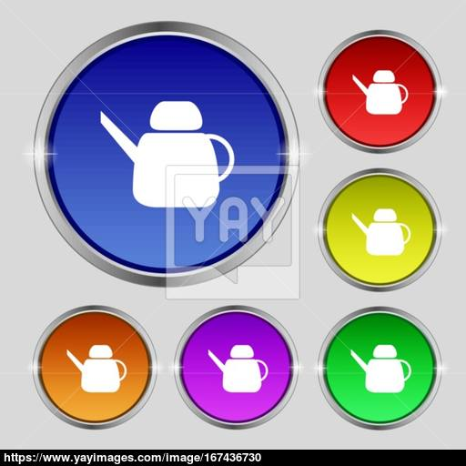 Kettle Icon Sign Round Symbol On Bright Colourful Buttons Vector