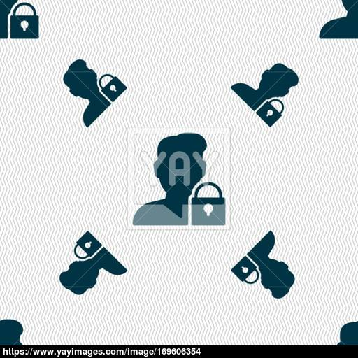 User Is Blocked Icon Sign Seamless Pattern With Geometric Texture