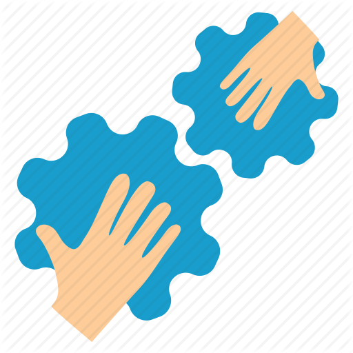 Communication, Connection, Contact, Cooperation, Gears, Hands