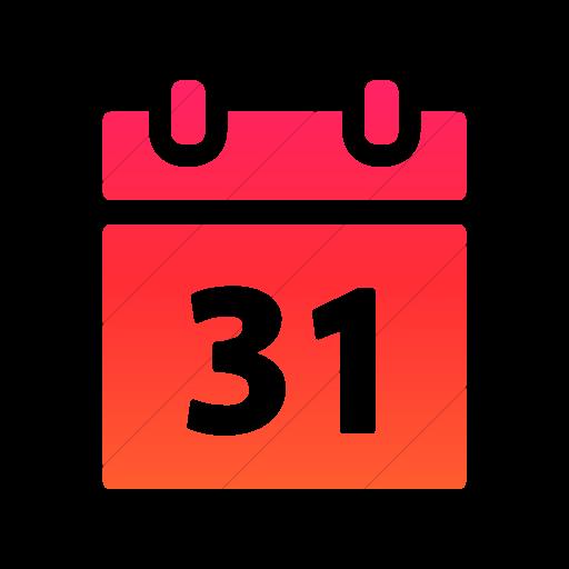 Simple Ios Orange Gradient Foundation Calendar Icon