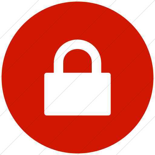 Flat Circle White On Red Broccolidry Lock Icon