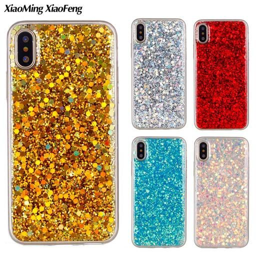 For Apple Iphone X Case Silicone Glitter Bling Back Cover Case