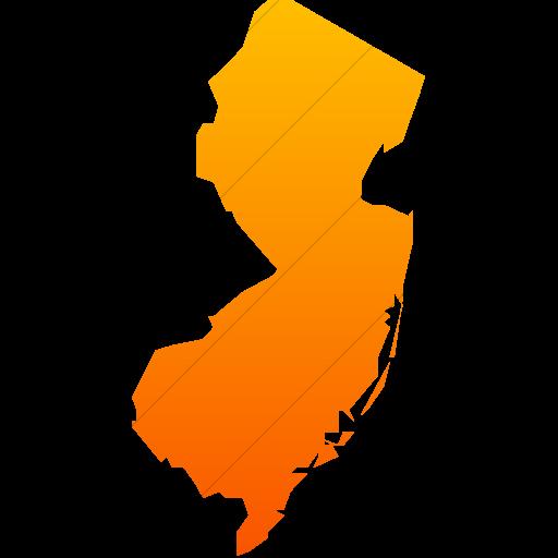 Simple Orange Gradient Us States New Jersey Icon