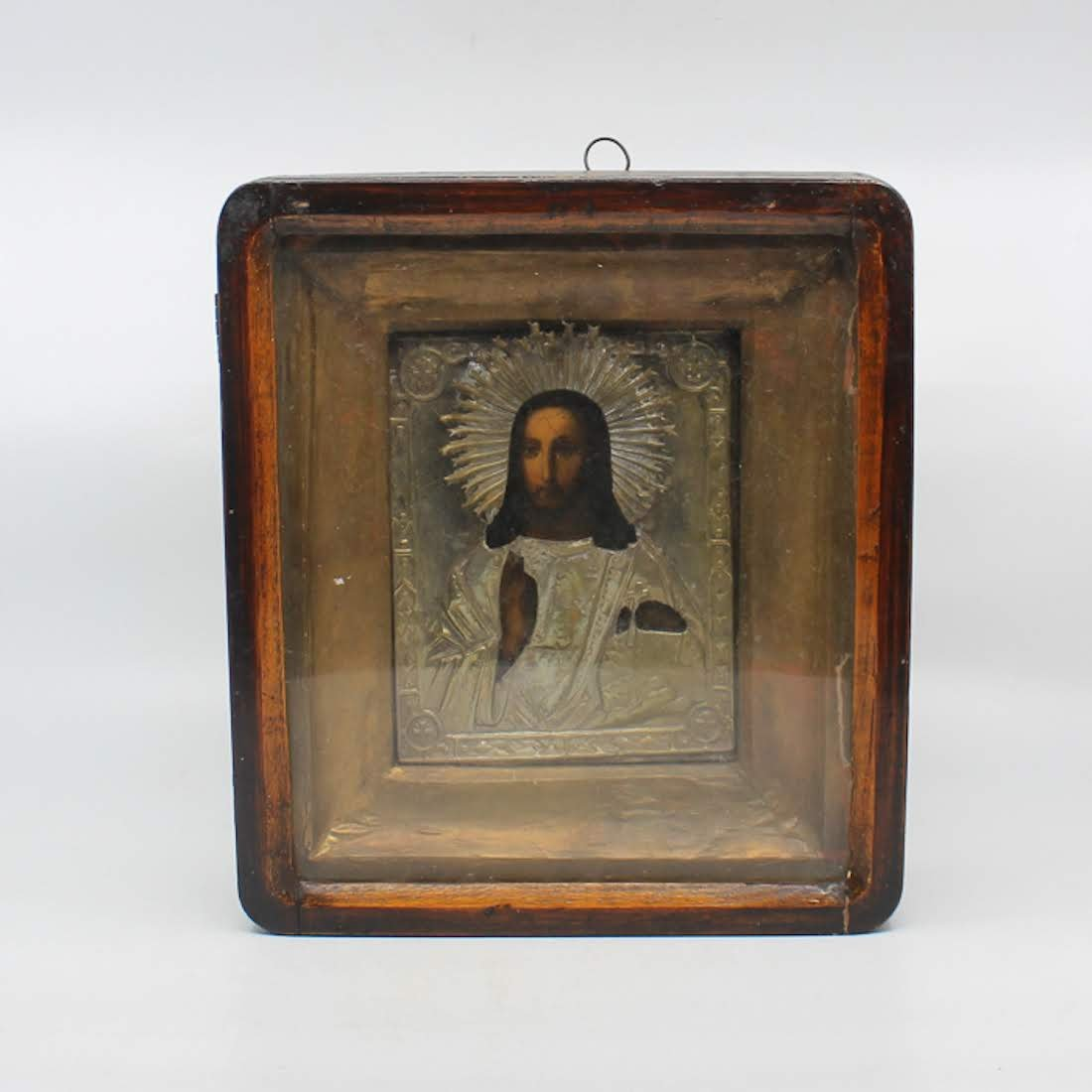 Antique Russian Icon Of Jesus In Sterling Oklad