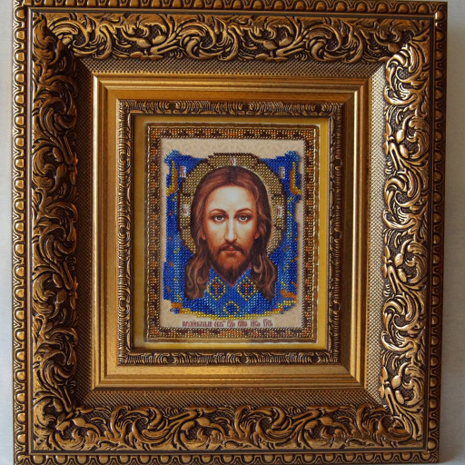 Jesus Christ The Saviour Christian Orthodox Bead Embroidered Icon