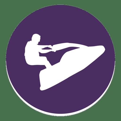 Jet Skiing Circle Icon