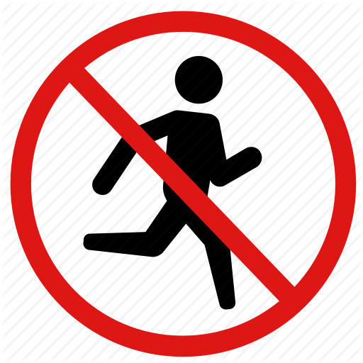 Careful, No Jogging, No Running, Prohibited, Running Icon