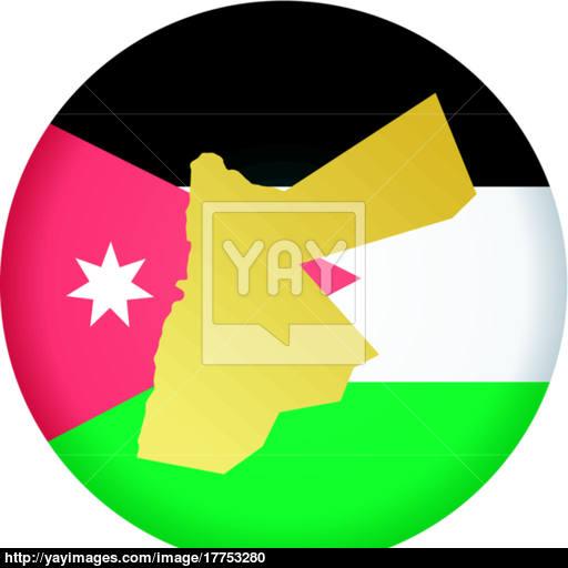 Flag Button In Colours Of Jordan Vector