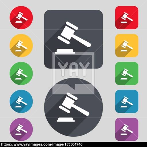 Judge Or Auction Hammer Icon Sign A Set Of Colored Buttons