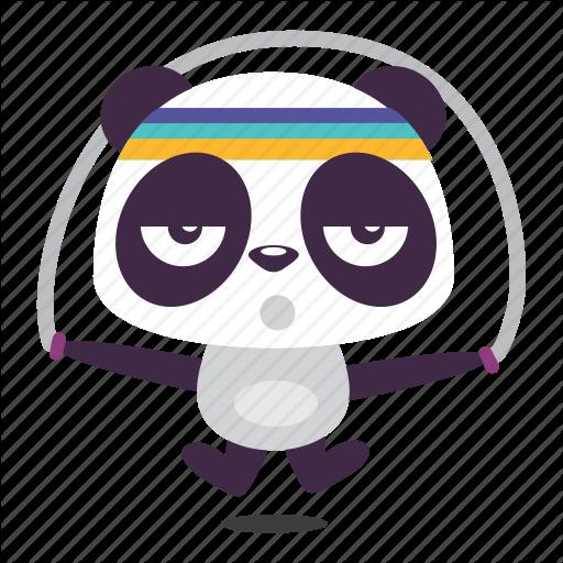 Exercise, Jump, Panda, Rope, Trainning Icon