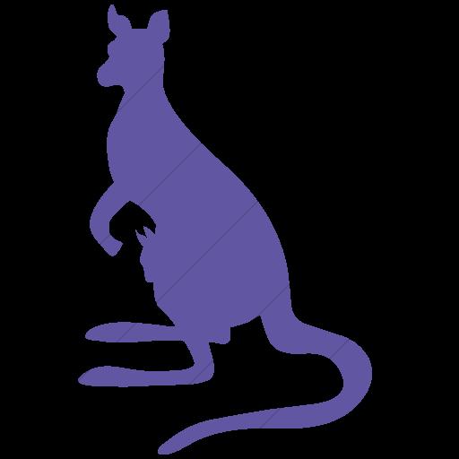 Simple Purple Animals Kangaroo Icon