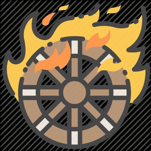 Burning, Fire, Ghost, Japanese, Kasha, Wheel, Yokai Icon