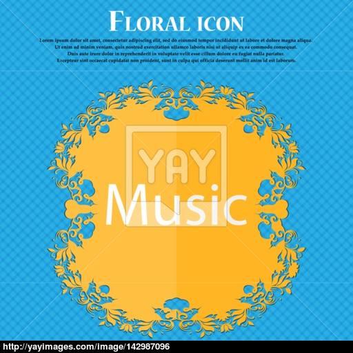 Music Sign Icon Karaoke Symbol Floral Flat Design On A Blue