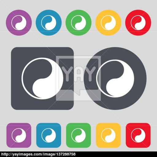 Yin Yang Icon Sign A Set Of Colored Buttons Flat Design