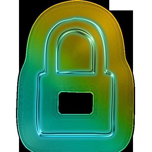 Lock Transparent Neon Huge Freebie! Download For Powerpoint