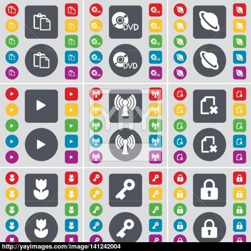Survey, Dvd, Planet, Media Play, Wi Fi, File, Flower, Key, Lock