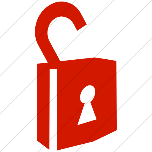 Simple Red Classica Unlocked Padlock With Keyhole Icon
