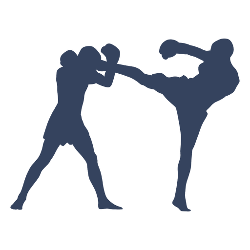 Boxing Kickboxing Fight Blue Silhouette