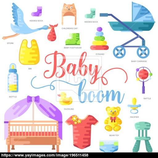 World Breastfeeding Week And Kids Elements Flat Icon Set Concept