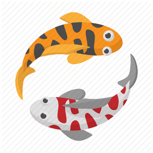 Cartoon, Fish, Japan, Koi, Sign, Style, Two Icon
