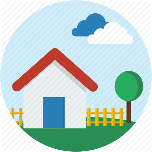 Circle, House, Landscape, Neighborhood, Scenery, Town Icon