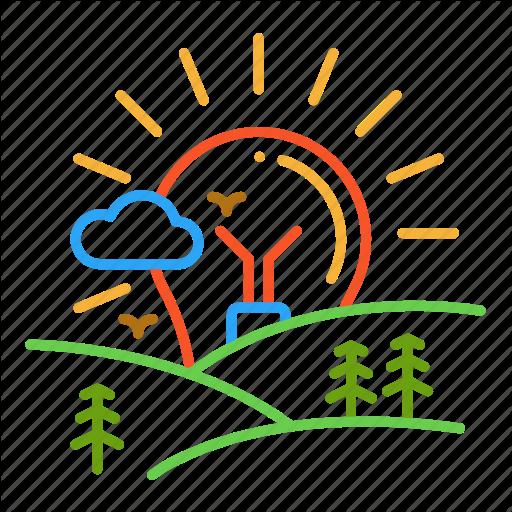 Colour, Dawn, Design, Fild, Landscape, Light, Line Icon