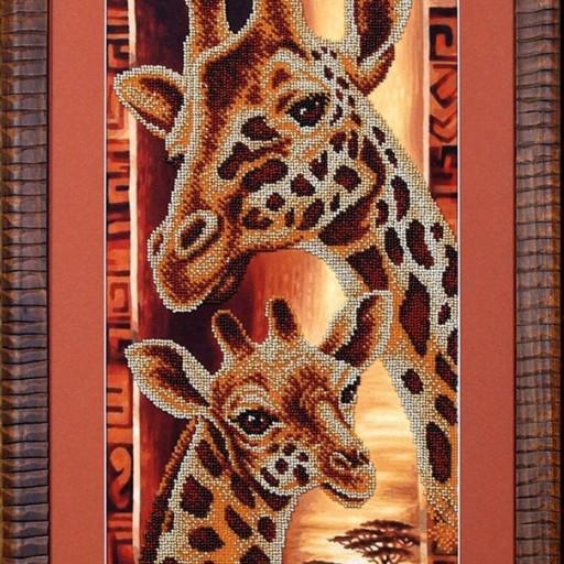Africa Giraffes Beaded Stitching Beading On Needlepoint Kit