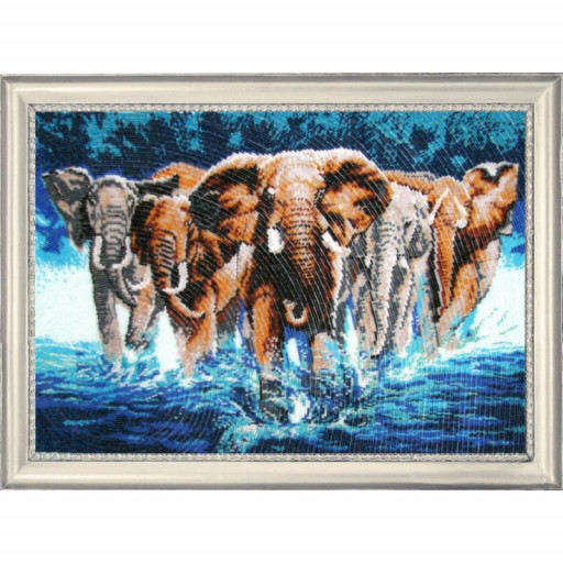 Elephants Animals Bead Embroidery Kit Beadwork Beaded Embroidery