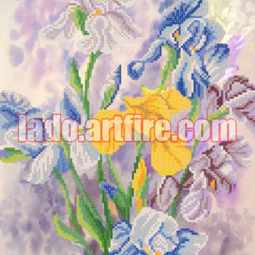 Irises Bead Embroidery Diy Kit, Wall Art Decor, Housewarm Gift
