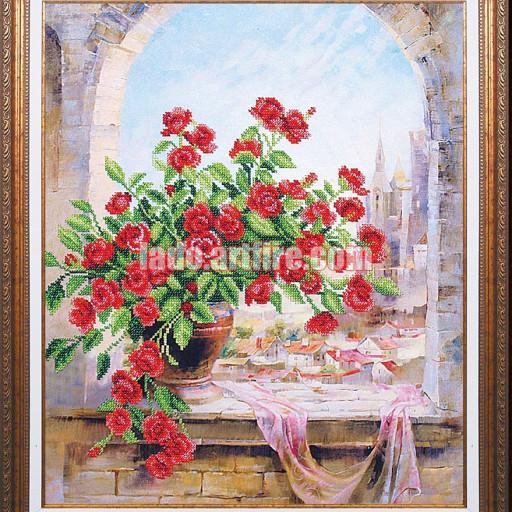 July Roses Diy Beaded Embroidery Kit, Housewarming Gift Idea