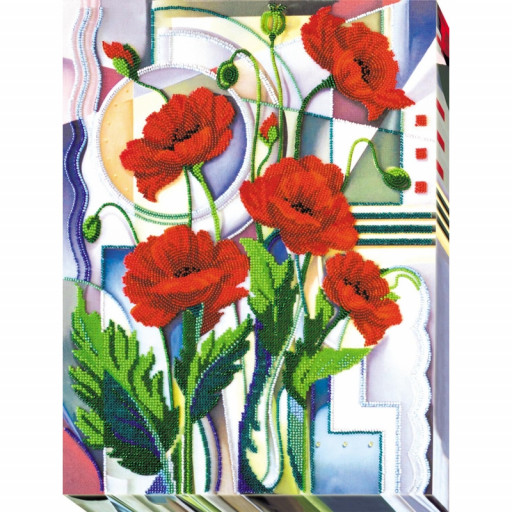 Poppies Bead Embroidery Kit Beaded Embroidery Kit Beading Diy