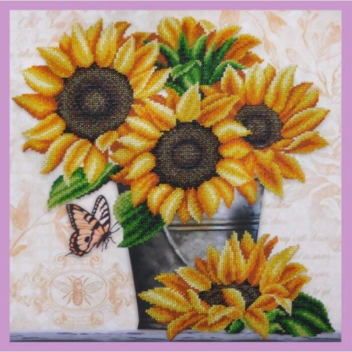 Sunflowers Bead Embroidery Kit Beaded Embroidery Kit Beading Diy