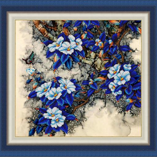 Bead Embroidery Kit Blue Flowers Beaded Painting Set Needlework