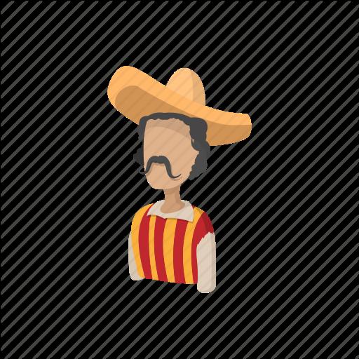 Cartoon, Hat, Latino, Man, Mexican, Mex Sombrero Icon