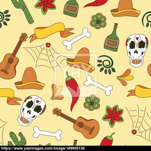 Mexico Icons Seamless Pattern
