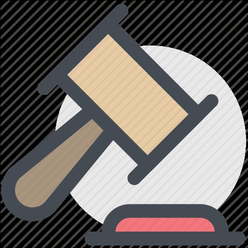 Court, Gavel, Hammer, Judge, Law Icon