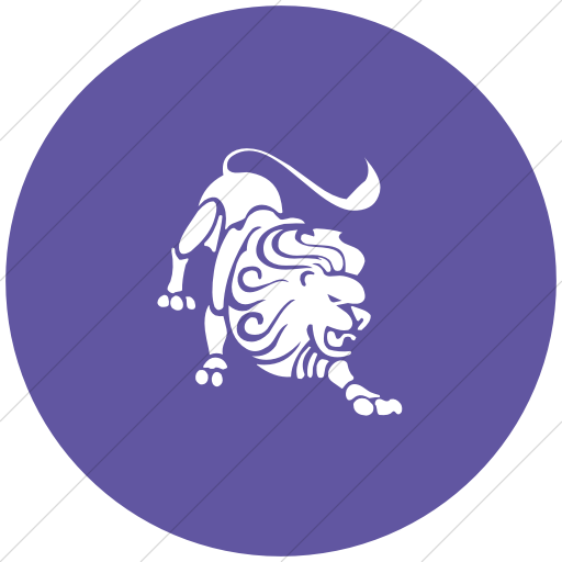Flat Circle White On Purple Zodiac Leo Icon