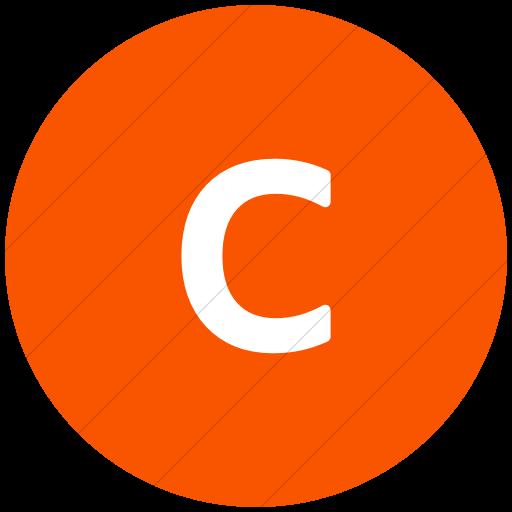 Flat Circle White On Orange Alphanumerics Lowercase