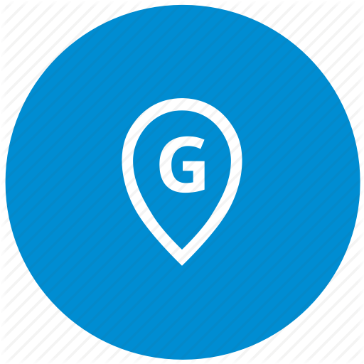 G, Letter, Map, Point, Round Icon