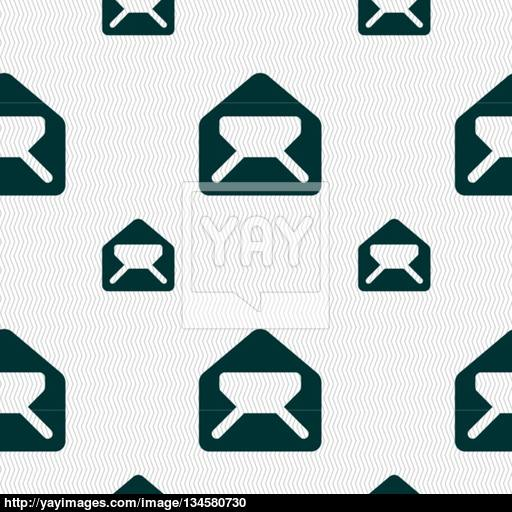 Mail, Envelope, Letter Icon Sign Seamless Pattern With Geometric