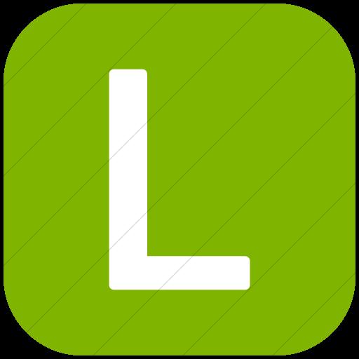 Flat Rounded Square White On Green Alphanumerics