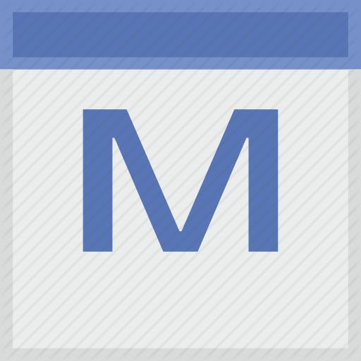 Calendar, Key, Latin, Letter, M Icon