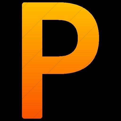 Simple Orange Gradient Alphanumerics Uppercase Letter P