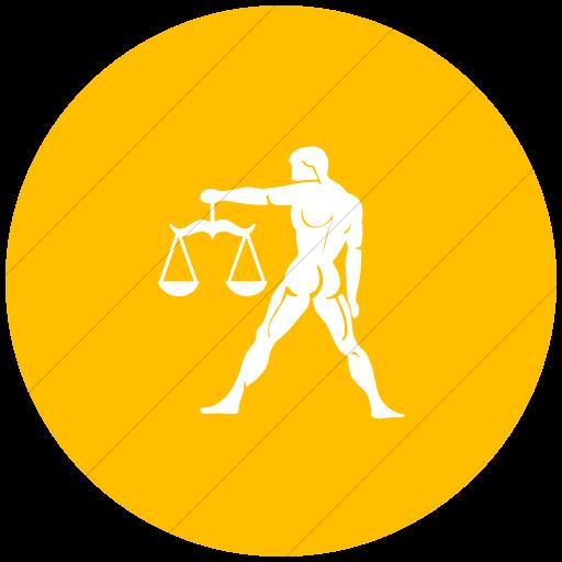 Flat Circle White On Yellow Zodiac Libra Icon