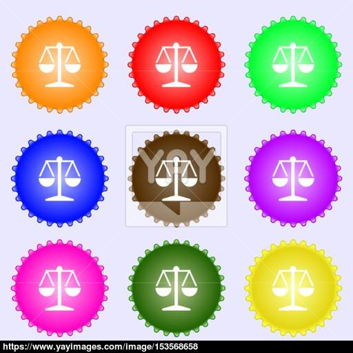 Libra Icon Sign A Set Of Nine Different Colored Labels Vector