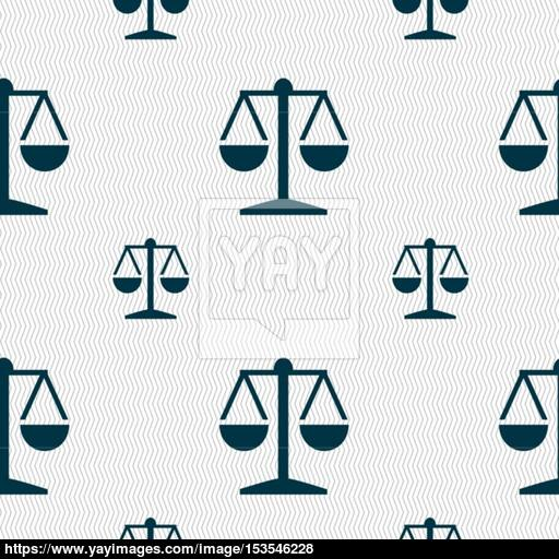 Libra Icon Sign Seamless Pattern With Geometric Texture Vector