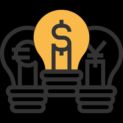 Euro, Light Bulb, Idea Icon